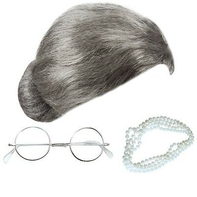 Granny Bun Wig & Glasses & Pearls Necklace Grey Old Lady Fancy Dress Grandma Sec