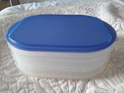 Tupperware stackable 3 in 1 one storage box 3 containers & 1 blue lid