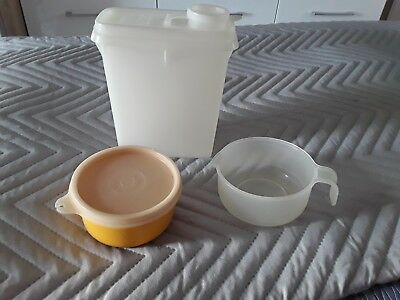 Tupperware x 3 small items jug yellow tub store & pour storage containers boxes
