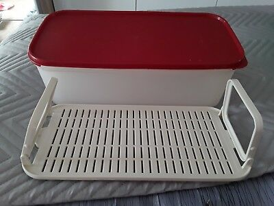 Tupperware Rectangle Oblong Spacesaver No 2 & drainer  6L  Red modular mates