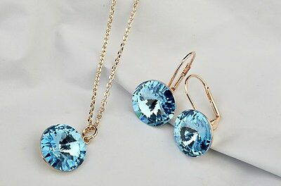 Luxury Jewellery Set Necklace Earrings Rose Gold Plated Blue Turquoise Crystal