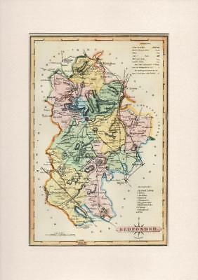 County of Bedfordshire Repro. Mounted Map Ellis's Atlas of England & Wales 1819