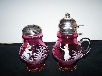 Mary Gregory Style (2 Items)  Cranberry Syrup Pitcher & Shaker