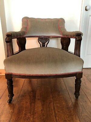 Antique Library Captains Tub Fire Lounge Reading Armchair wheeled