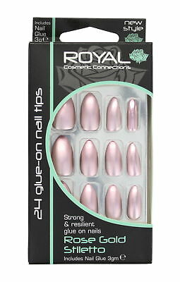 Royal 24 Glue-On Strong & Resilient Nail Tips-Rose Gold Stiletto