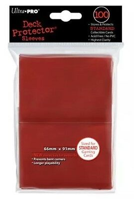 NEW Ultra Pro SLEEVES Solid 100 Card Game (Red)