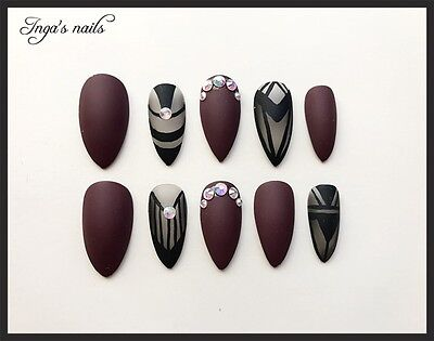 Hand painted maroon/black matte with crystals  stiletto full cover false nails