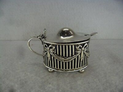 Regency Style Solid Silver Mustard Pot, London 1895