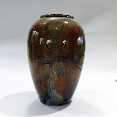 Royal Doulton Slaters Patent Vase - beautiful, rich colour leaves motif