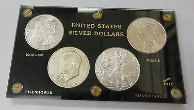 4 Coin Silver Dollar Set 1881-S Morgan 1926-S Peace 1973-S Ike 2018 ASE UNC