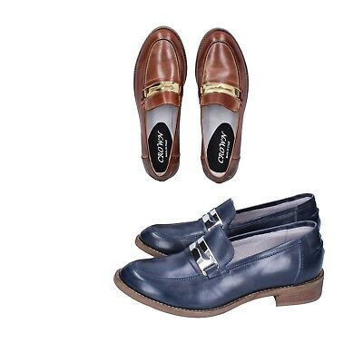 CROWN scarpe donna mocassini pelle marrone e blu