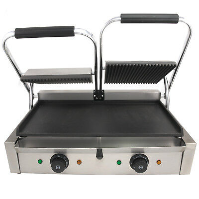 Commercial 2X 1.8Kw Twin Electric Contact Grill For Paninis And Toasties Uk Plug