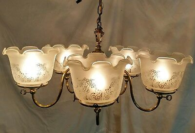 Antique Victorian 5 Arm Solid Brass Gas / Electric Chandelier w/ Etched Shades