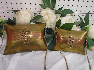 Vintage Set of 2 Pillow Purses Brass and Copper