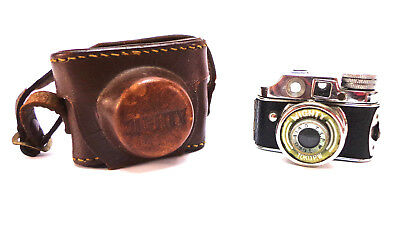Sub Miniature spy Camera Toko Mighty mini Occupied Japan vtg w/ leather case