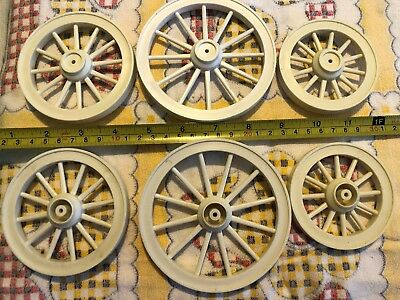 Lot of (6) WHITE Plastic Model Horse Drawn Wagon Wheels from Mold