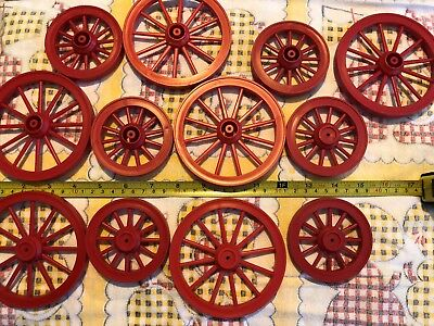 Lot of (12) RED Plastic Model Horse Drawn Wagon Wheels from Mold