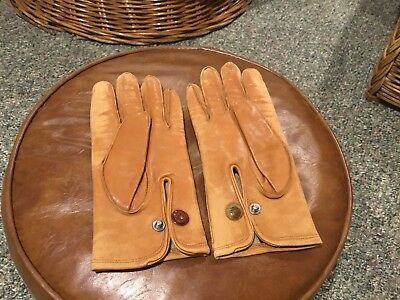 Men's Rare Vintage Perrin Tan Leather Goves w Wrist Snaps Sz 8 (S or tight M)
