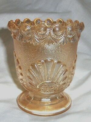 Footed Vase Glass Amber Shell & Jewel Pattern 4 1/2 inches tall Antique EAPG