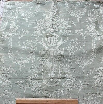 Beautiful Antique French Ice Blue Wool & Silk Home Dec Fabric c1850-1860