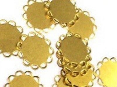 Qty 24 - New Brass 13mm Round Flat Lace Edge Cabochon Settings, Charms, Links