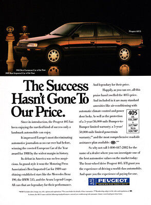 1989 Peugeot automobile print ad - The Success Hasn't Gone to our Price