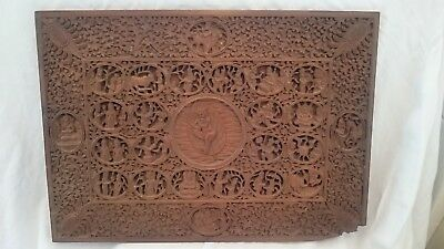 Large Good Quality Carved Indian Sandalwood Panel Plaque Figures And Dieties 2