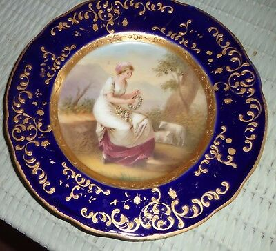 Kaufmann Signed Portrait Plate- Austria-Beehive-Seated Lady-Cobalt/ Gold