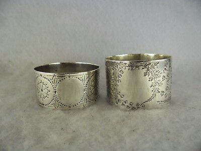 Pair of Victorian Floral Pattern Solid Silver Serviette Rings Not Engraved EH