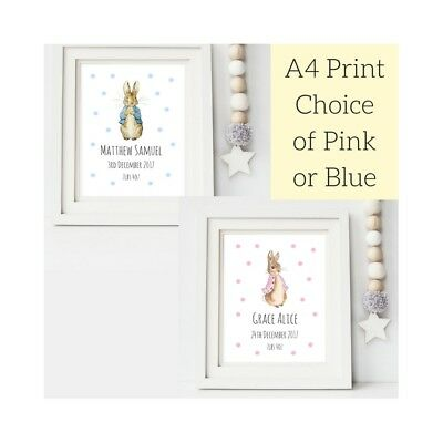 Beatrix Potter Peter Rabbit Personalised Print Christening Baby Gift Girl or Boy