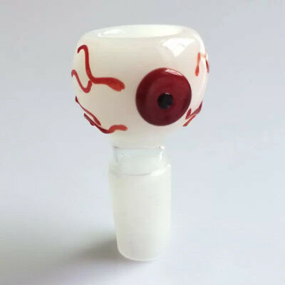 14mm / 18mm Male Red Eye Glass Slide Bowl EyeBall Water_Pipe White BloodShot