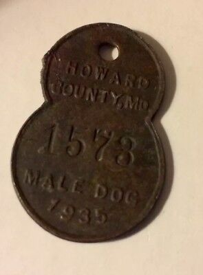 1935 Male Dog Tax/Tag,# 1573Howard County, MD,Maryland. Shaped with Year.