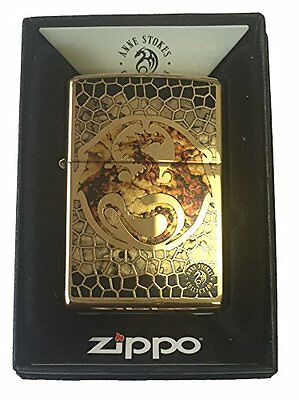 Zippo Custom Lighter Ann Stokes Artist DRAGON SCALES Design High Polish Brass