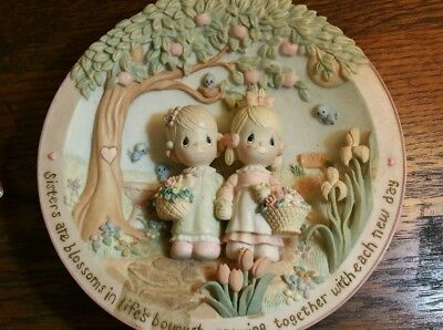 Precious Moments Gentle Blossoms Plate Sisters are Forever 99' NEW w/Certificate