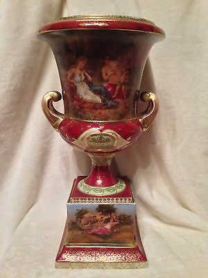 "RARE Antique 19th c. ROYAL VIENNA Beehive 17"" PEDESTAL URN VASE Hand Painted"