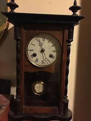 Antique  Wall Clock German JUNGHANS R/A Pendulum RUNS !! Time and Chime