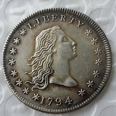 United States USA 1794 Flowing Hair Brass Silver Plated Dollar Coin Monet Penny