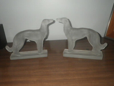 Pair Of Vintage Art Deco Borzoi Russian Wolfhound Frosted Glass Statue GREYHOUND