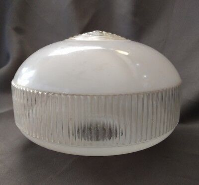 """Vintage Clear Glass White Frosted Light Globe 8 1/2"""" Ceiling light shade"""