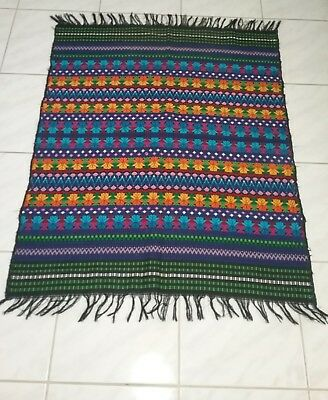 Vintage Brights Mexican Hand Woven Throw Area Rug  Wall Hanging