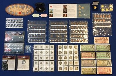 Huge Canadian Coin & Banknotes Estate Lot. See Photos! Includes 2 Silver Coins!