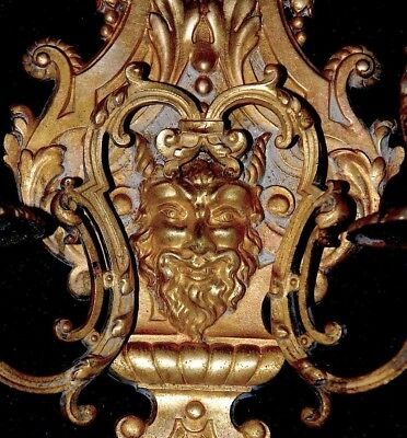 Pair Of Magnificent Rare Antique French Brass Wall Sconces Candleholders Devil