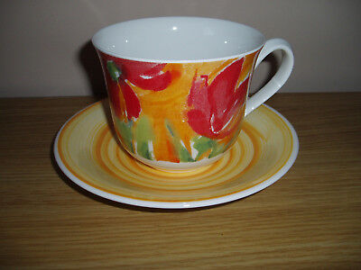 Roy Kirkham Colour Your World Tulips Cup and Saucer, 1999, VGC
