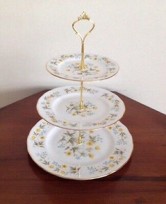 3 Tier Vintage Colclough China Cake Plate Stand Afternoon Tea Party Wedding
