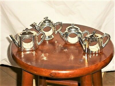 "GODINGER 1994_4 Silver plated 2.5"" Teapot shape Napkin Holders_Vintage Collector"
