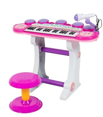 Musical Kids Keyboard 37 Key Piano W/ Microphone, Synthesizer Playbacks Pink