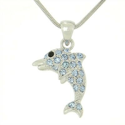 "W Swarovski Crystal DOLPHIN Blue Ocean Sea Necklace Pendant 18"" Chain"