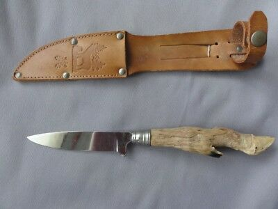 Vintage Deer Foot Knife Handle with Leather Sheath