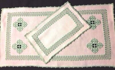 Two Old Vintage Hand Made Hardanger Embroidery  in White/Green Runners
