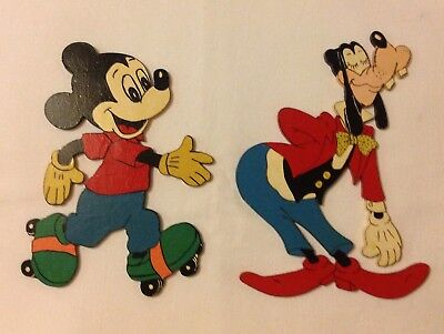 Vintage Walt Disney Mickey Mouse & Goofy Wooden Wall Plaque Sign Picture